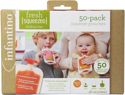 Infantino 50 Pack Squeeze Pouches (50 Caps) - 2071MALL