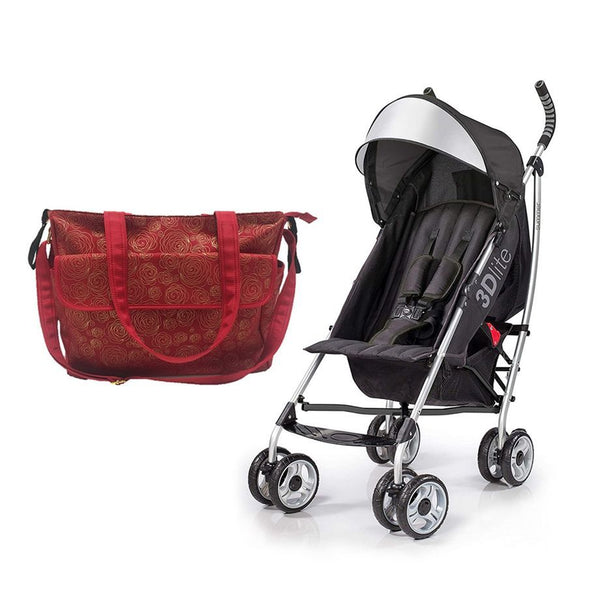 Summer Infant Summer Infant Messenger Changing Bag Red/Gold Swirl +3D Lite Stroller Black - Combo, BG-SI78646-21930