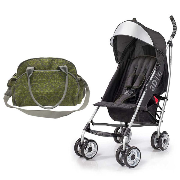 Summer Infant Summer Infant Changing Bag Limestone Berry  +  3D Lite Stroller Black - Combo, BG-SI78456-21930 - 2071MALL