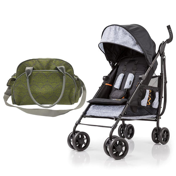 Summer Infant Summer Infant Changing Bag Limestone Berry  + 3D Tote Convenience Stroller Heather Grey - Combo, BG-SI78456-32513 - 2071MALL