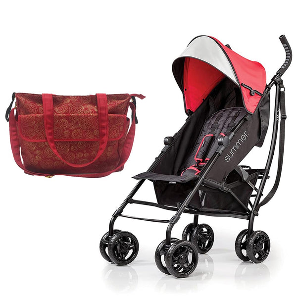Summer Infant Summer Infant Messenger Changing Bag Red/Gold Swirl + 3D Tote Convenience Stroller Red - Combo, BG-SI78646-32703 - 2071MALL