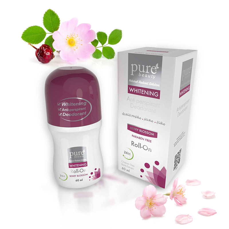 Pure Beauty - Whitening Anti Perspirant Deodorant Roll On Berry Blossom 60ml - 2071MALL
