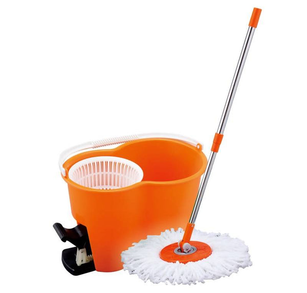 Royalford RF4238 360° Spin Easy Mop with Dehydration Bucket 360 Degree Spinning Mop Bucket Home Cleaner Extended Easy Press Stainless Steel Handle