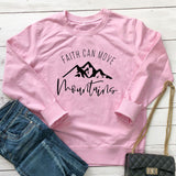 Faith Can Move Mountains Christian Hoodie pink