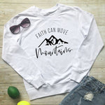 Faith Can Move Mountains Christian Hoodie white