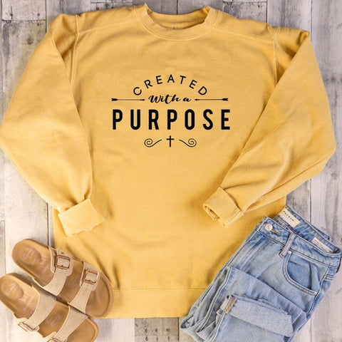 Created with A Purpose Christian Hoodie yellow
