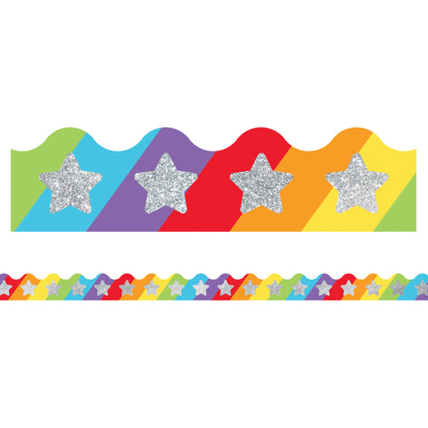(6 Pk) Glitter Star On Rainbow Border Sparkle And Shine Scalloped