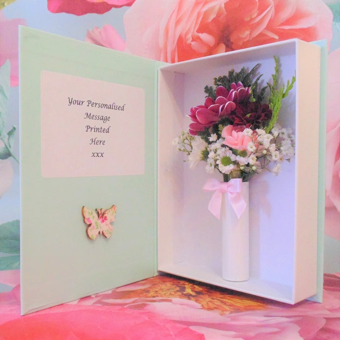 Fresh Flower Card -Vintage Pink Butterfly