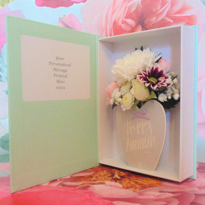 Happy Anniversary Heart Fresh Flower Card **New Design**