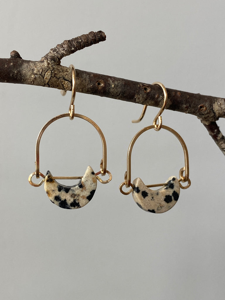 Dalmatian Jasper Mini Eclipse Earrings