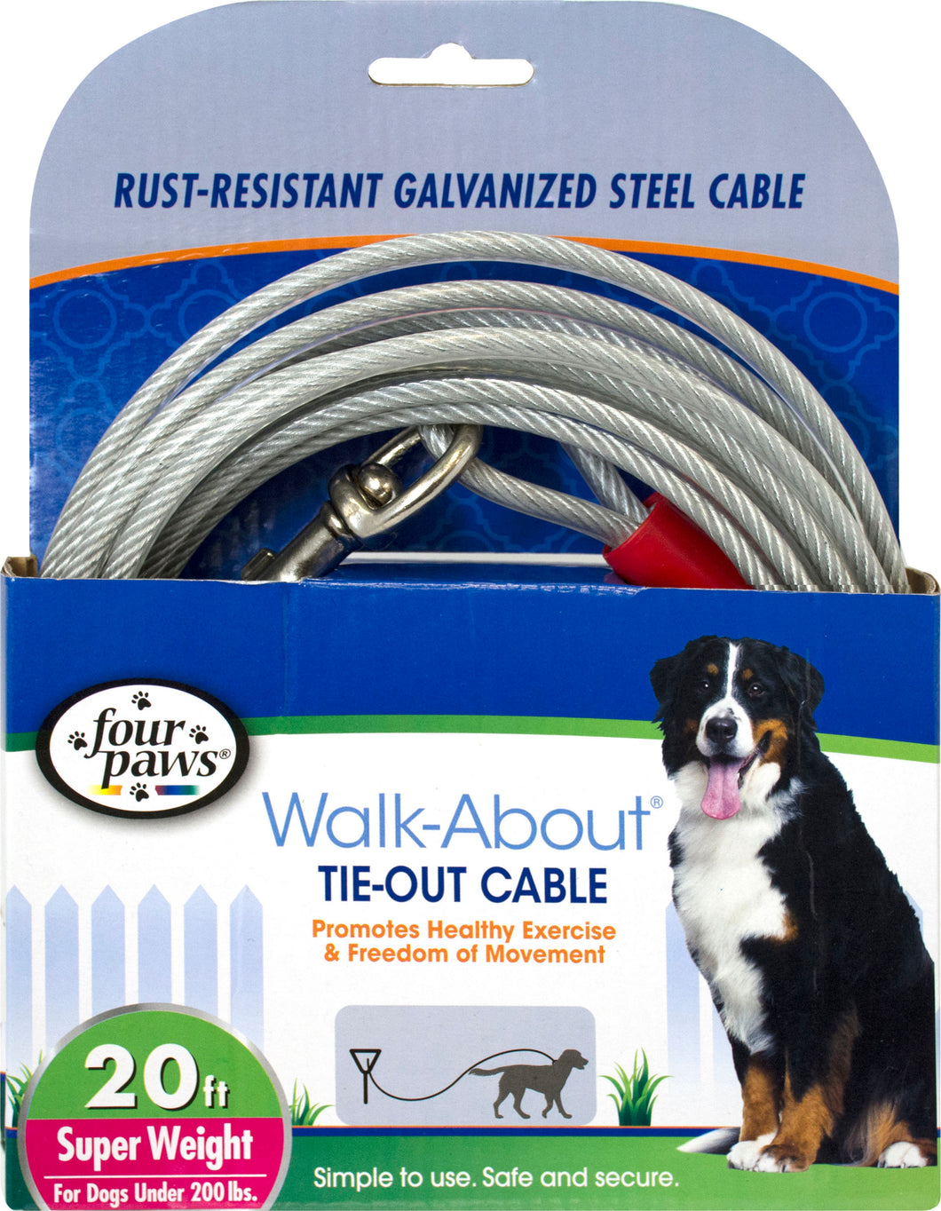 Four Paws Dog Tie Out Cable- Super Weight