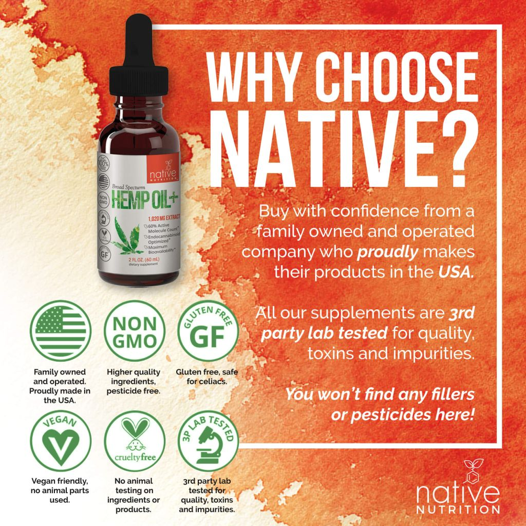 CBD oil 1000mg - Broad Spectrum Cannabidiol - Native Nutrition