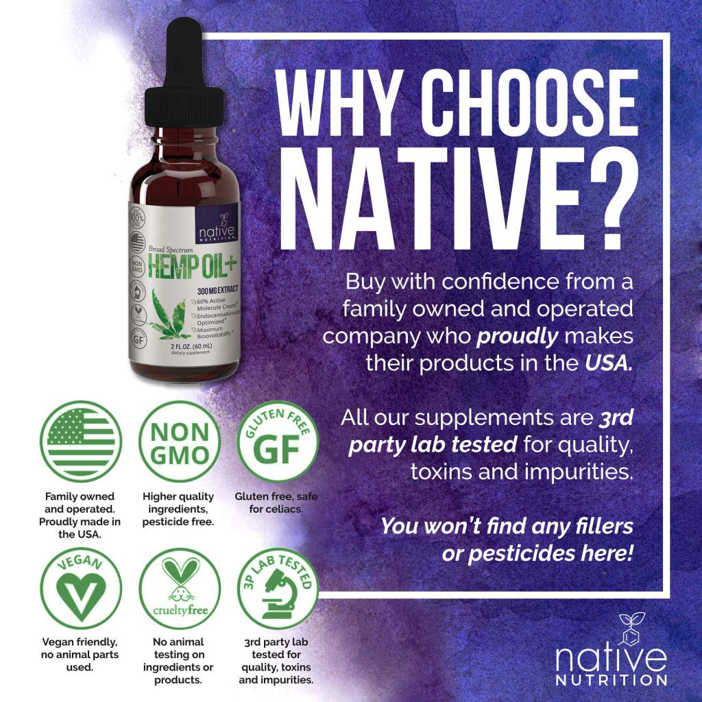 CBD oil 300mg - Broad Spectrum Cannabidiol - Native Nutrition