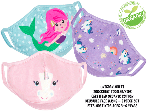 Kids 3 Piece Organic Reusable Face Mask Set-Unicorn Multi