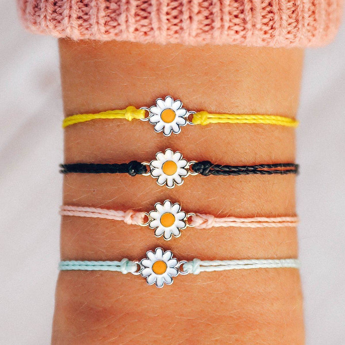 Gold Daisy Charm Bracelet in Black