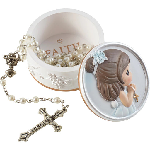 Faith Is The Light That Guides You Girl Rosary Box with Rosary