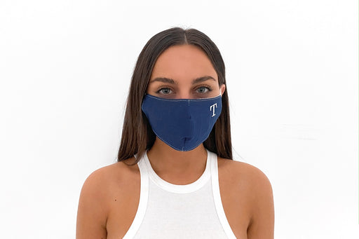 Solid Lightweight Navy Monogrammed Face Mask