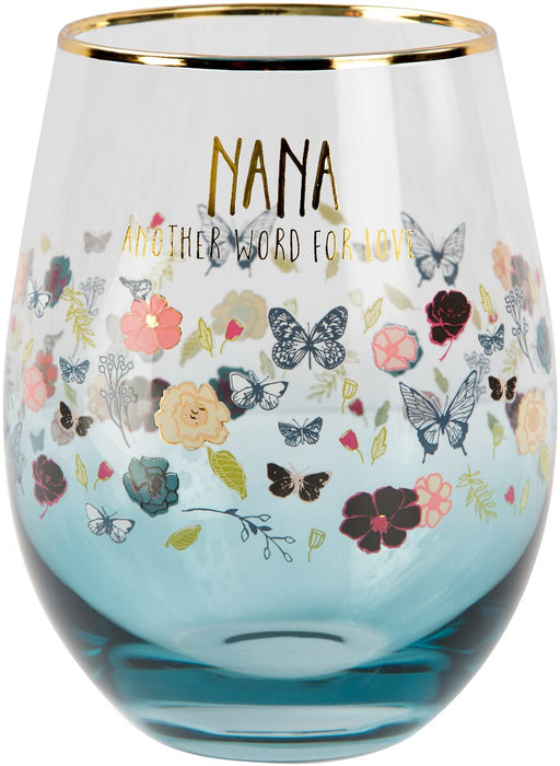 Nana Floral Stemless Wine Glass
