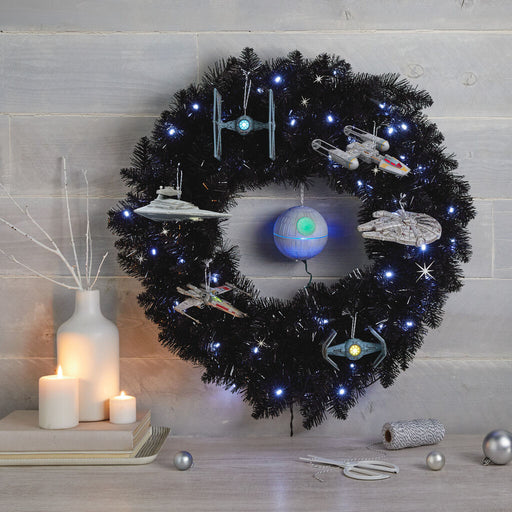Star Galaxy Black Wreath With Lights