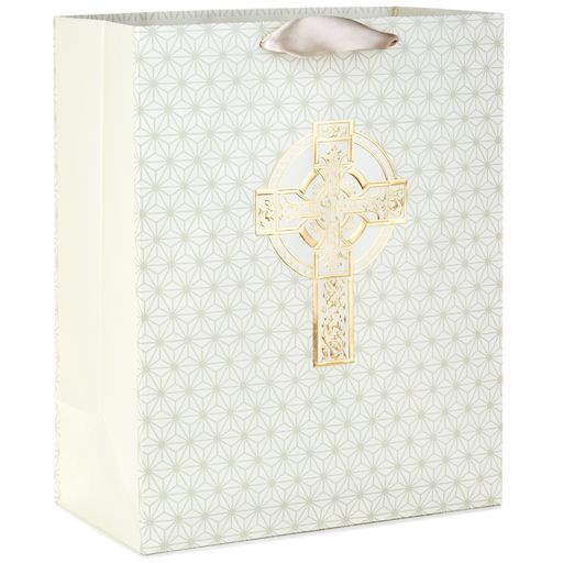 Gold and Ivory Cross Large Gift Bag