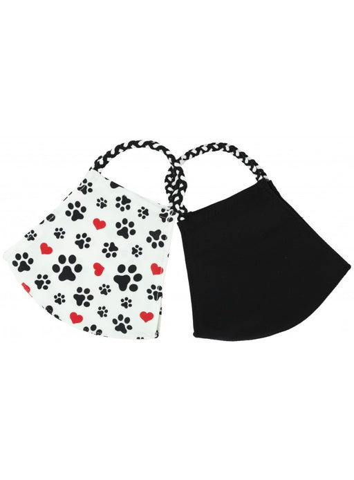Pomchies Light Weight Paw Print & Black Face Mask 2 Pack