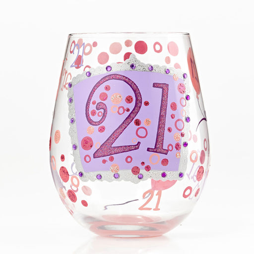 21st Birthday Lolita Stemless Wine Glass