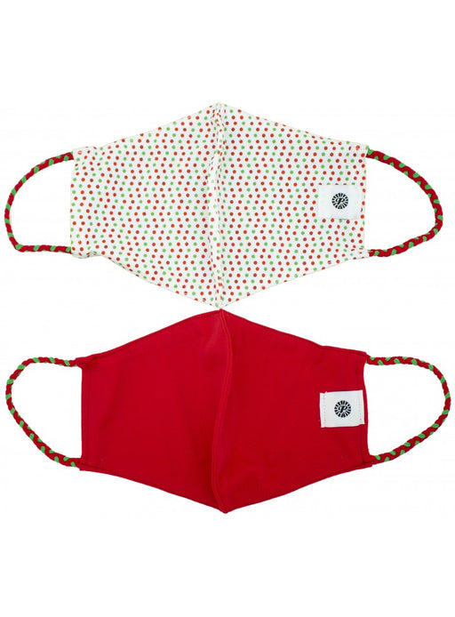 Pomchies Light Weight Holiday Dots & Red Face Mask 2 Pack