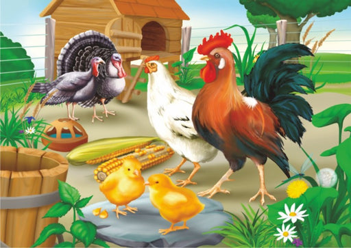 Rooster and Hen 35 Piece Jigsaw Puzzle