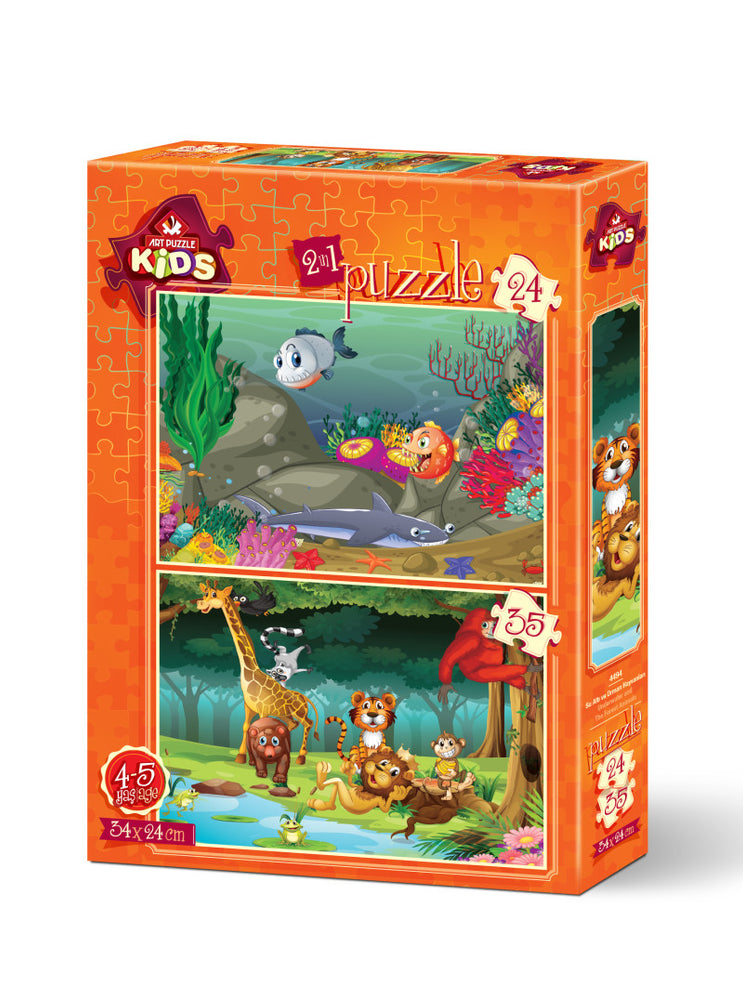 2 in 1 Underwater and Forest Animals Piece Jigsaw Puzzle