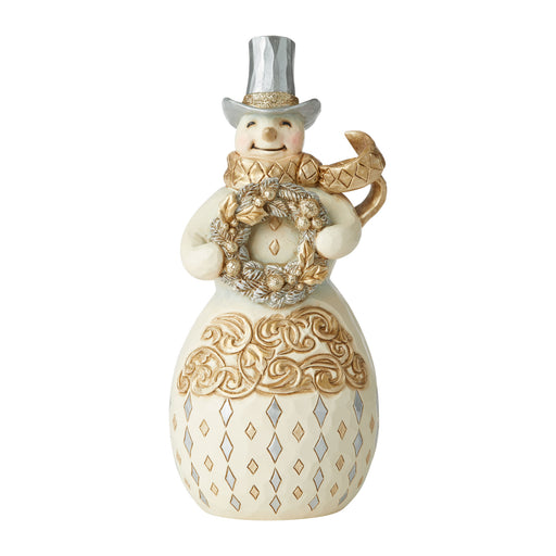 Holiday Lustre Snowman with Wreath by Jim Shore