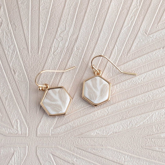 Jilzarah Summer Sand 14K Gold Hexagon Reversible Earrings