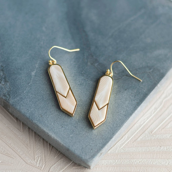Jilzarah Summer Sand 14K Gold Double Arrow Earrings