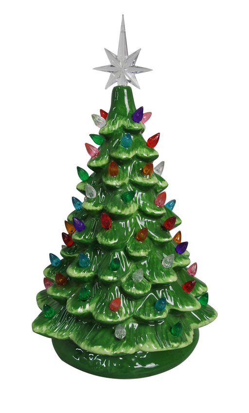 "16"" Green Ceramic Light Up Christmas Tree"