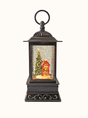 "10.5"" Santa and Friends Glitter Lantern with LED"