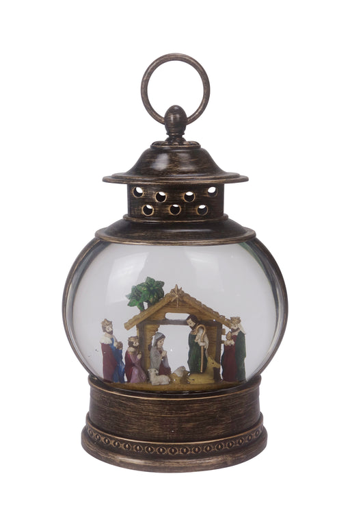 "11.25"" Santa & Friends Glitter Fishbowl Lantern with LED - Nativity"