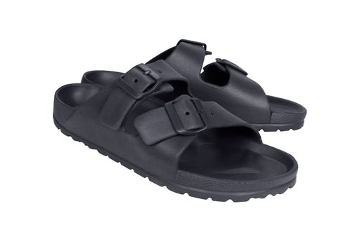 Eva Ann 2-Band Slide Sandal - Black