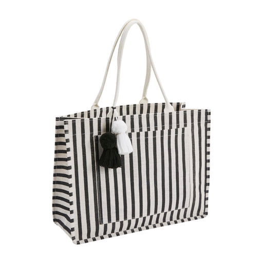 Black & White Stripe Jute Tote