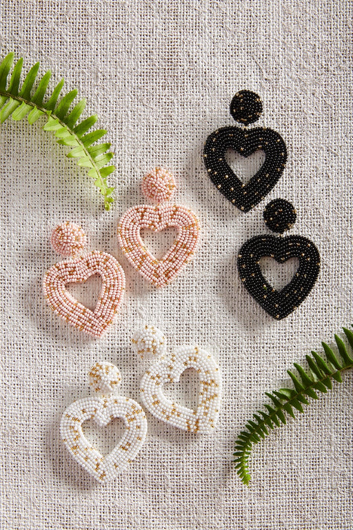 Beaded Open Heart Earrings