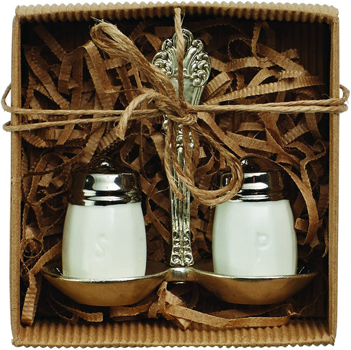 Salt & Pepper Shakers with Silver Holder