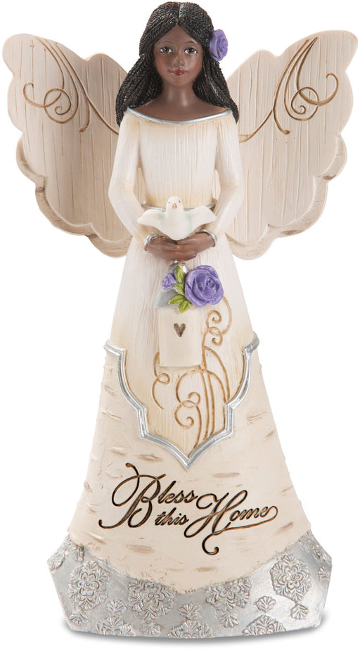 "6"" Ebony Angel Holding Bird House"