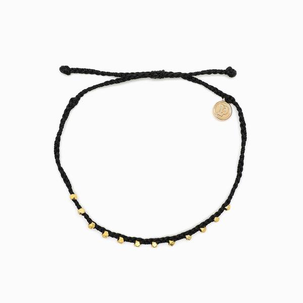 Gold Stitched Beaded Anklet in Black