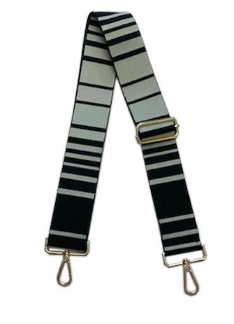 "ahdorned 2"" Black and Cream Striped Bag Strap"