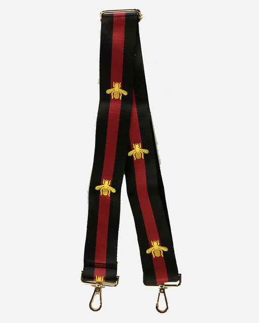 "ahdorned 2"" Black and Red Stripe with Gold Bee Bag Strap"