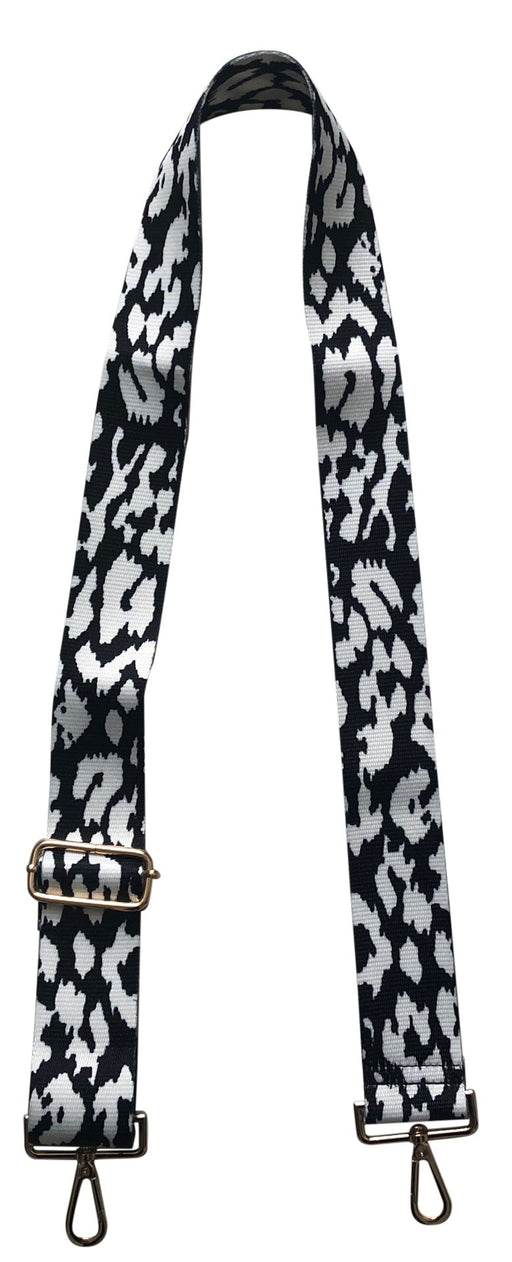 "ahdorned 2"" Black and White Leopard Bag Strap"