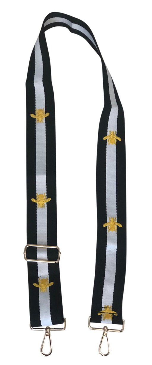 "ahdorned 2"" Black and White Stripe with Gold Bee Bag Strap"