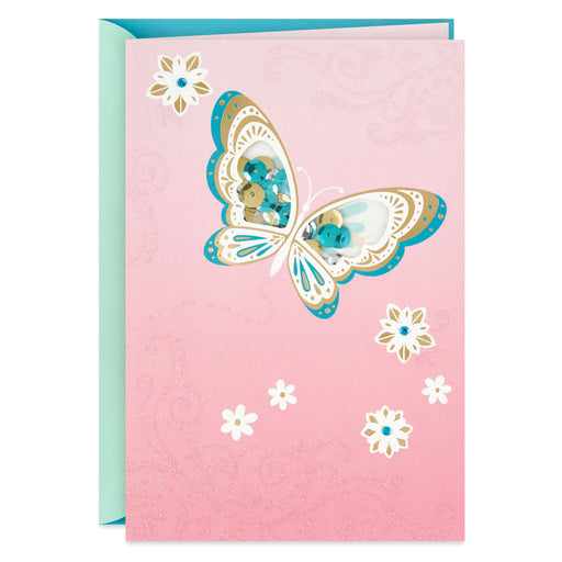 Glittering Butterfly Blank Thinking of You Card