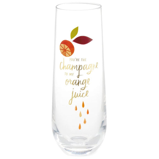 Champagne to My OJ Stemless Glass Champagne Flute