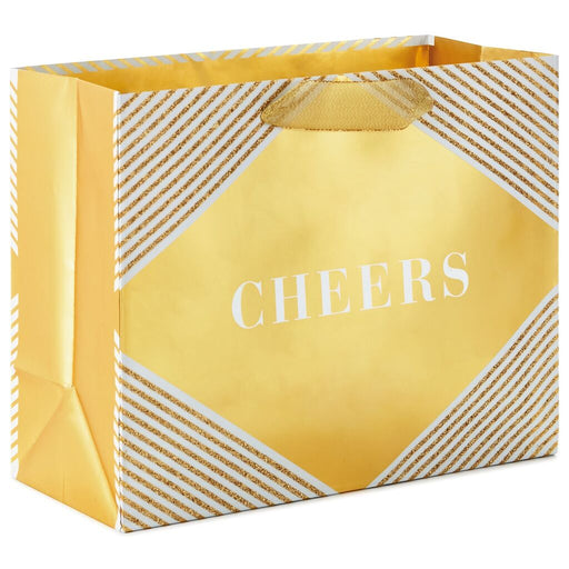 Cheers on Gold Horizontal Gift Bag