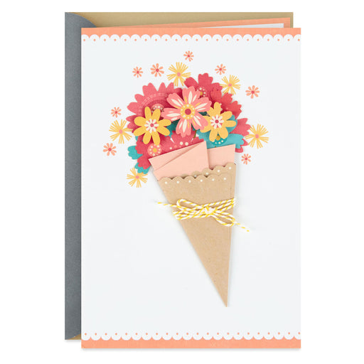 Crafted Flower Bouquet Blank Thinking of You Card