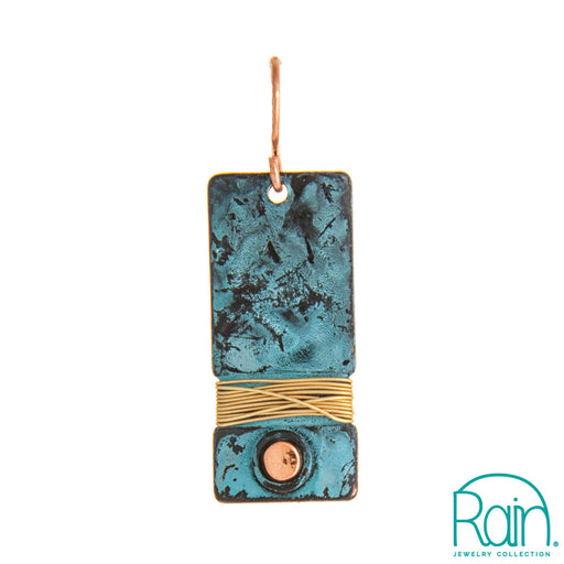 Patina Wire Wrap Bar Earring